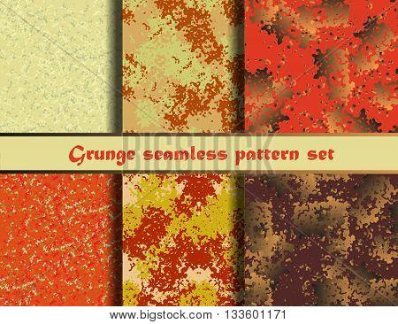 Grunge textures set. Orange background Collection. Vector illustration. Grunge seamless pattern set. EPS 10
