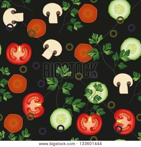 Tomato, parsley, carrot cucumber vector seamless pattern. Vegetable vegetarian template on the black background. Vegetable mix slice, salad bar template. EPS 10