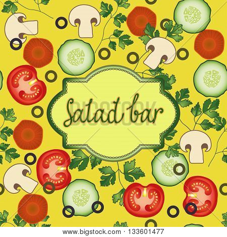 Salad bar template. Tomato, dill, carrot, olives, mushroom cucumber vector card. Organic Vegetable vegetarian mix on the yellow background for your restaurant design.