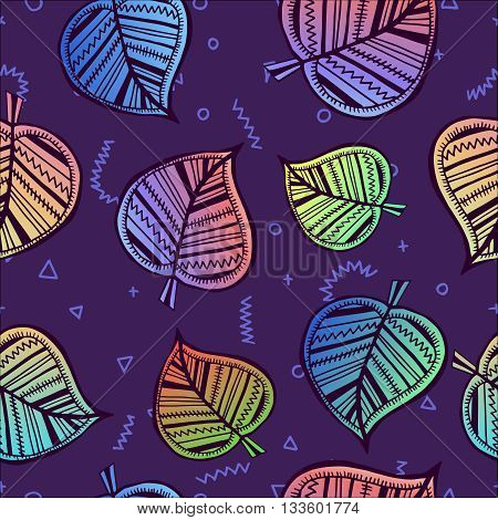 Leaf Seamless Pattern With Colorful Summer Style