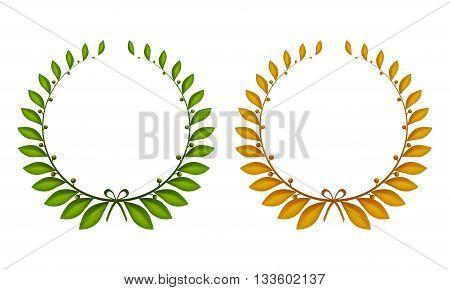 Set of two laurel wreaths green and gold.