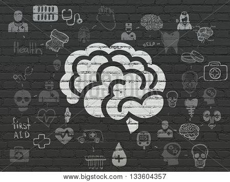 Healthcare concept: Painted white Brain icon on Black Brick wall background with Scheme Of Hand Drawn Medicine Icons