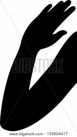 a lady hand black color silhouette vector