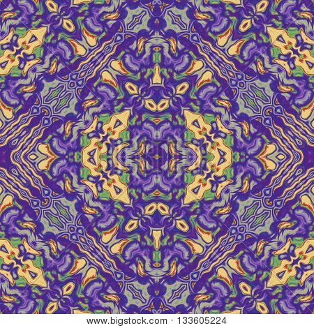 Kaleidoscopic seamless generated texture purple and yellow