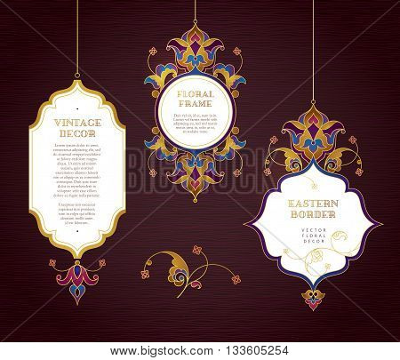 Vector Set Of Line Art Frames In Eastern Style.