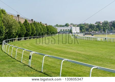 CHESTER UNITED KINGDOM - June 04 2016: Section of the horse racing track at Chester. June 04 2016.