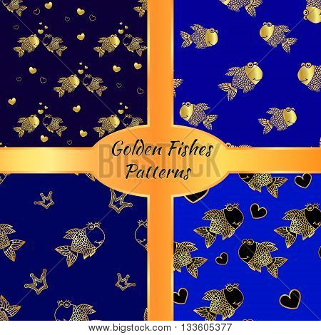 Golden vector fish seamless pattern set. Collection of patterns with golden fishes on a blue background. Marine sea cartoon seamless patterns.