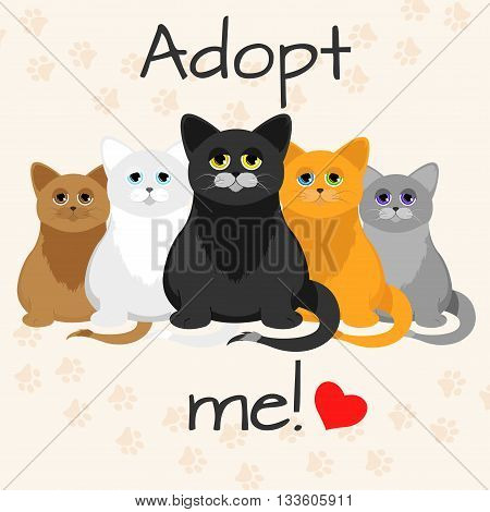 Cats in a cartoon style. Do not shop adopt. Cat adoption concept. Vector illustration