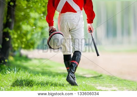 legs of Jockey before walking along the hippodrome track