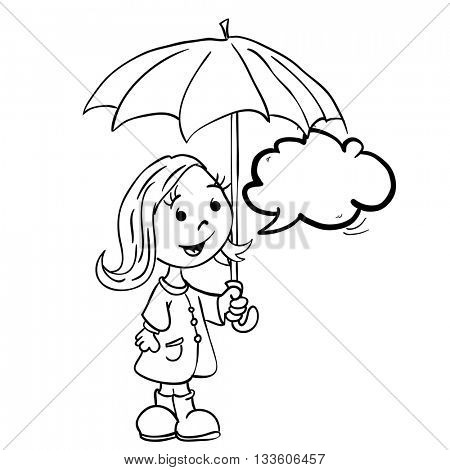 black and white little girl with umbrella and speech bubble cartoon