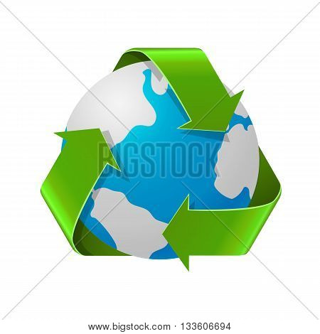 Recycling Earth concept. Realistic illustration of recycle arrows with Earth globe isolated on white. Recycling symbol.