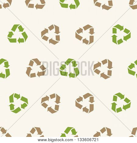 Seamless vector recycling sign pattern for packaging and print. Recycle symbol pattern