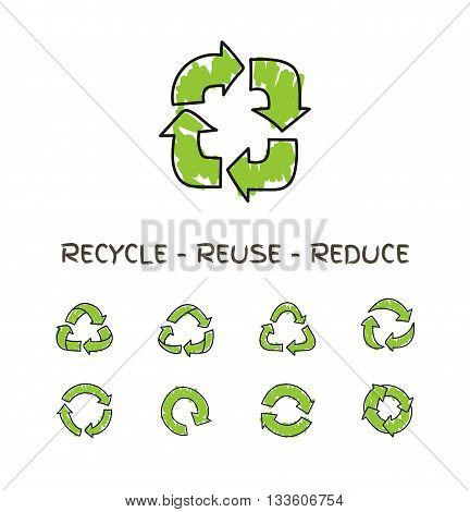 Hand drawn doodle circular arrows, vector recycle icons isolated on white. Different recycle symbols , recycle signs