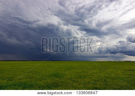 Summer Storm clouds above meadow with green grass Rising Thunderstorm, Dramatic sky before storm. Dark clouds