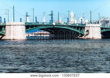 Birzhevoy Bridge Over Neva River