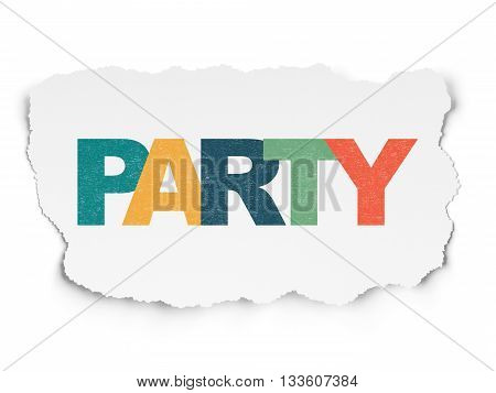Holiday concept: Painted multicolor text Party on Torn Paper background