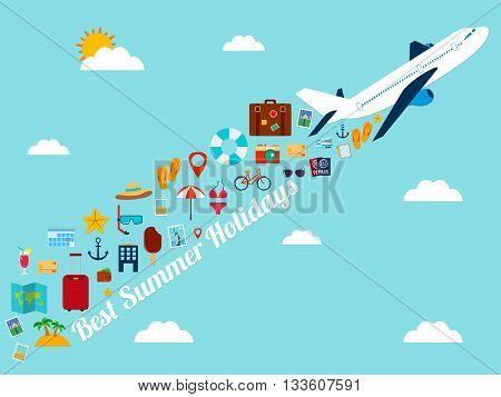 Travel background with flat icons. Summer holidays background. Travel and tourism concept. Vector illustration