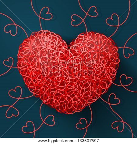 Heart weaved from variety of twisted red threads heart-shaped curls around on white background