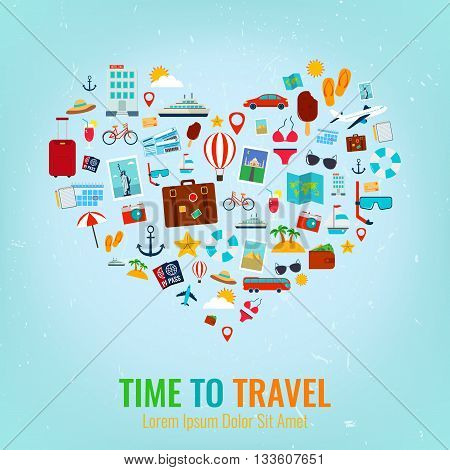 Heart silhouette with travel flat icons. Travel and tourism concept. Vector illustration