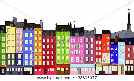 Bright colorful city houses of Honfleur on a white background. Hand-drawn sketch. Flat design.