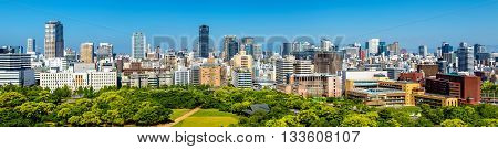 Skyline of Osaka city in Japan, view from the castle