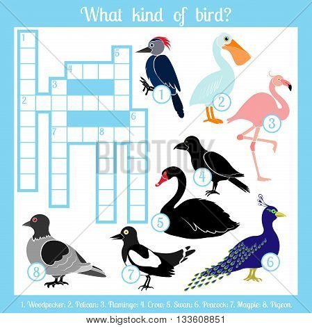 Multicolored crossword. Education game for children. Crossword Birds .