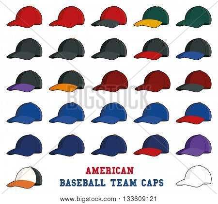 Collection of baseball cap icons with team colors of american professional league