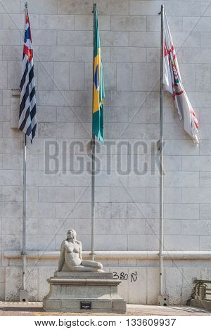 Sao Paulo - April 30, 2016 - Statue Guanabara, Artist Sculpture Of Joao Batista Ferri Located In Fro