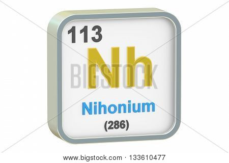 Nihonium chemical element isolated on white background 3D rendering