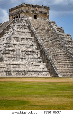 Biggest and most fames pyramid Ell Castillo in Chichen Itza
