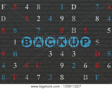 Programming concept: Painted blue text Backup on Black Brick wall background with Hexadecimal Code