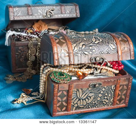 Two Wooden Treasure Chests