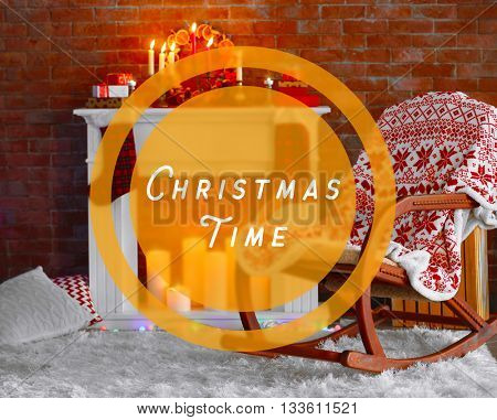 Text Christmas Time and decorations on mantelpiece