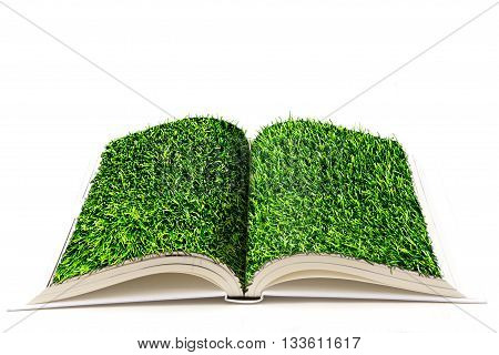open book with pages covered with a grass turf
