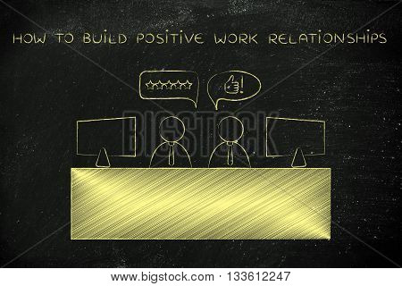 Co-workers Talking At The Office, Build Positive Relationships