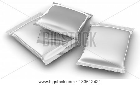Flexible consumer packaging. Sealed packages from a polymeric film. Model of consumer packaging. Isolated. 3D Illustration