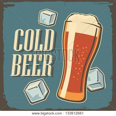 Vintage poster cold beer and ice cube. Vector vintage texture background. For emblem poster