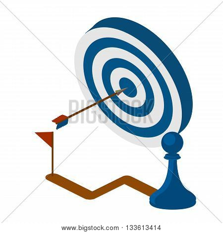 Vector illustration of blue dart hitting in the center of the target dartboard. strategy concept. Isometric vector illustration.