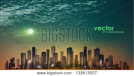 Modern Night City Skyline In Moonlight Or Sunset And Cloudy Sky