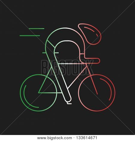 Modern Illustration of cyclist. Outline bicyclist in Italy flag tricolor isolated on dark background. For use as design element, logo, sticker. Bicycle racer made in trendy thin line style vector.