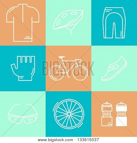 Set of 9 Bicycle Race modern linear icons. White outline templates of cycling isolated on colorful background. Bicycling elements and accessories made in trendy thin line style vector.