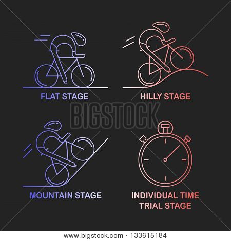 Set of 4 linear icons of cycling race stage types. Outline infographics templates in French flag tricolor isolated on dark background Bicyclists and stopwatch made in trendy thin line style vector.
