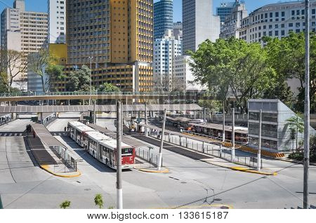 Sao Paulo, Brazil, August 08, 2011: Bus Station At 9 De Julho Avenue Of Downtown Sao Paulo, Called T