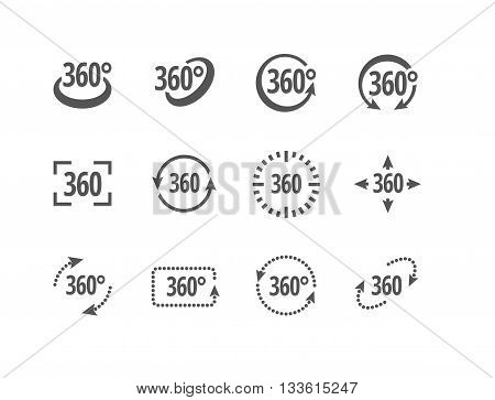 360 degrees view sign vector icons of different shapes. Fully scalable.