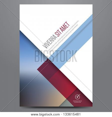 Geometric business brochure, flyer, poster, annual report, magazine cover vector template. Modern blue and red corporate flat design.