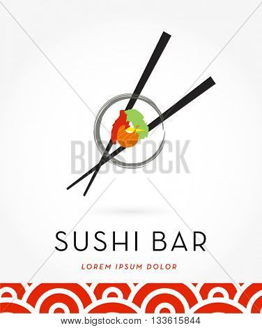BEAUTIFUL, MODERN, SUSHI WITH CHOP STICKS, VECTOR LOGO / ICON