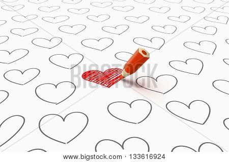 Red heart drawn by red pencil and a lot of gray separate hearts around. Take care of your heart concept