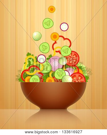 Sliced fresh vegetables are falling in large brown bowl on wooden background. Vegetable mix for salad. Raw food diet and vegetarian food concept