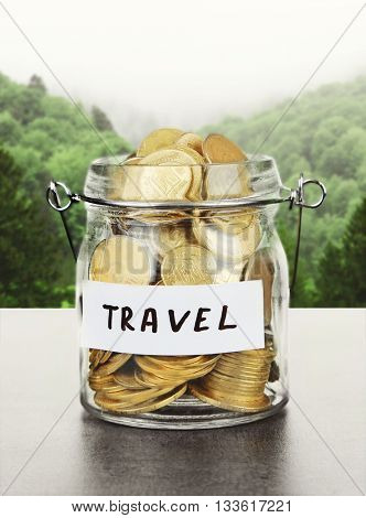 Jar for savings full of coins on forest background