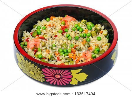 Risotto with rice, green peas, carrot, bell pepper, pickled cucumbers